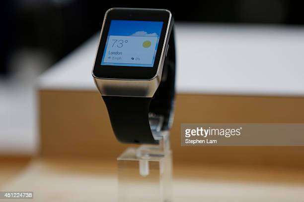 Samsung Gear Live watch is seen on display during the Google I/O Developers Conference at Moscone Center on June 25 2014 in San Francisco California...