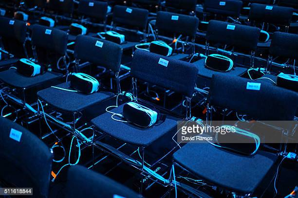 Samsung Gear VR devices are seen on seats ahead of the presentation of the new Samsung Galaxy S7 and Samsung Galaxy S7 edge on February 21 2016 in...