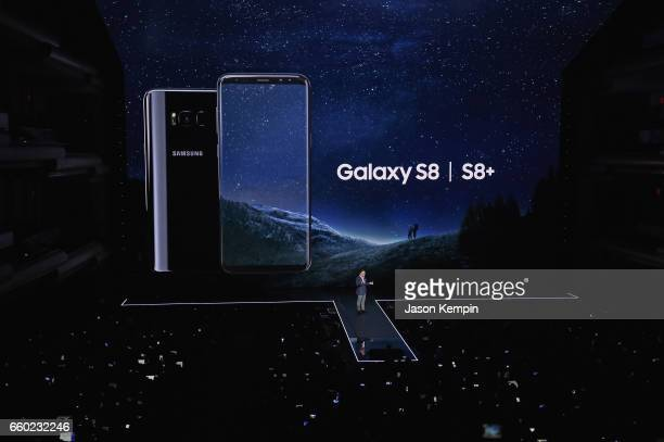 Samsung President of Mobile Communications Business DJ Koh unveils the Samsung Galaxy S8 and S8 during Samsung Unpacked at David Geffen Hall on March...