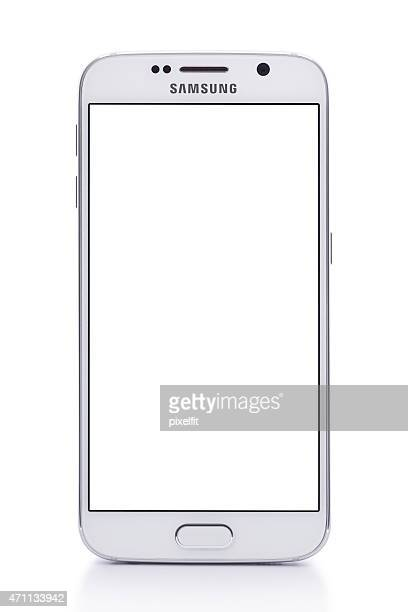 Samsung S6 White Pearl with clipping path and empty screen