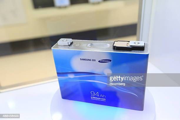 A Samsung SDI lithiumion electric automobile battery sits on display at the IAA Frankfurt Motor Show in Frankfurt Germany on Wednesday Sept 16 2015...