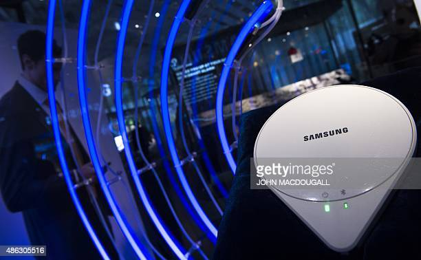 A Samsung 'Sleep Sense' device which monitors a sleeping person's activity is on display at the booth of South Korean electronics giant Samsung ahead...