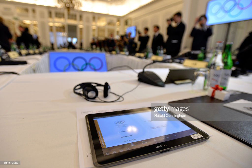 A Samsung tablet showing an International Olympic Committee (IOC) Executive board meeting document is seen during the International Olympic Committee Executive board meeting at the Lausanne Palace Hotel on February 12, 2013 in Lausanne, Switzerland. The two day board meeting is taking place to ensure the relevance of the Games.