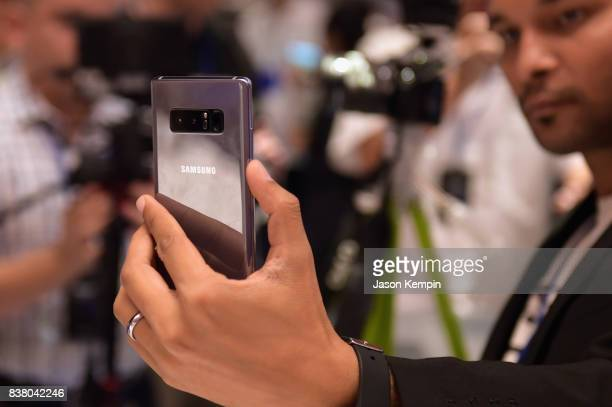 Samsung unveils the Galaxy Note8 during Unpacked at Park Avenue Armory on August 23 2017 in New York City