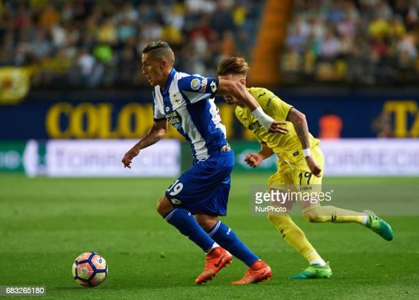 Samu Castillejo of Villarreal CF and Faycal Fajr of Deportivo de la Coruna during their La Liga match between Villarreal CF and Deportivo de la...