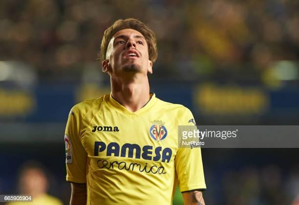 Samu Castillejo of Villarreal CF reacts during their La Liga match between Villarreal CF and Athletic Club de Bilbao at the Estadio de la Ceramica on...
