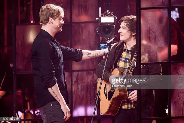 Samu Haber and Flo Unger are seen during the 'The Voice of Germany' semi finals on December 11 2016 in Berlin Germany The finals will be aired on...