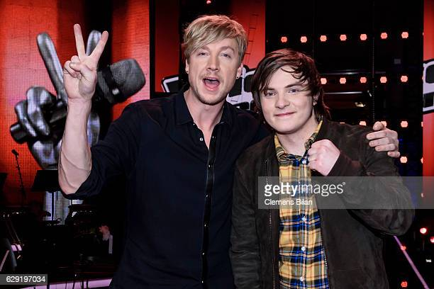 Samu Haber and Robin Resch pose during the 'The Voice of Germany' semi finals on December 11 2016 in Berlin Germany The finals will be aired on...