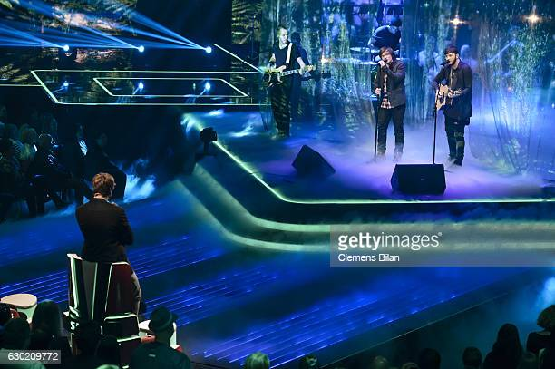 Samu Haber Robin Resch and James Arthur attend the ''The Voice Of Germany' Finals' on December 18 2016 in Berlin Germany
