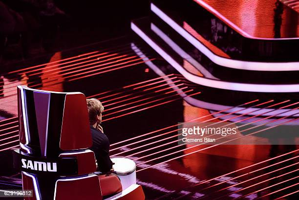 Samu Haber sits in his chair during the 'The Voice of Germany' semi finals on December 11 2016 in Berlin Germany The finals will be aired on December...