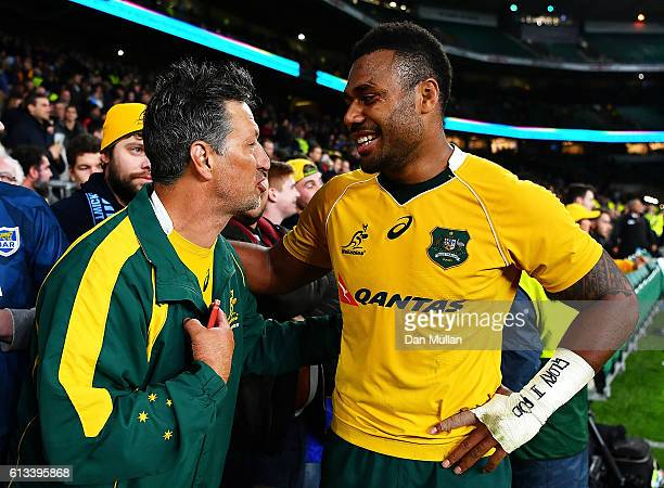 Samu Kerevi of Austraia celebrates at the end of The Rugby Championship match between Argentina and Australia at Twickenham Stadium on October 8 2016...