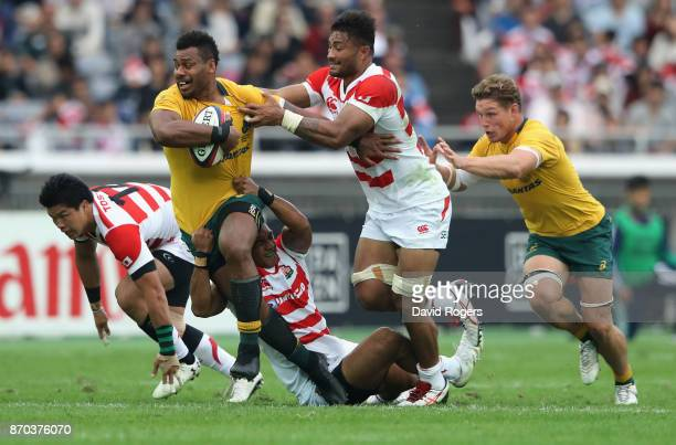 Samu Kerevi of Australia breaks with the ball during the rugby union international match between Japan and Australia Wallabies at Nissan Stadium on...