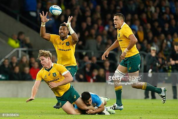 Samu Kerevi of Australia collects the loose ball during The Rugby Championship match between Argentina and Australia at Twickenham Stadium on October...