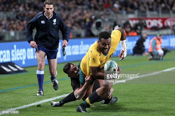 Samu Kerevi of Australia gets close to the try line during the Bledisloe Cup Rugby Championship match between the New Zealand All Blacks and the...