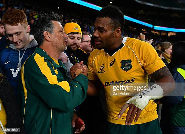 Samu Kerevi of Australia greets a supporter following the Rugby Championship match between Argentina and Australia at Twickenham Stadium on October 8...