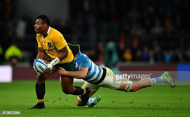 Samu Kerevi of Australia is tackled by Matias Alemanno of Argentina during the Rugby Championship match between Argentina and Australia at Twickenham...