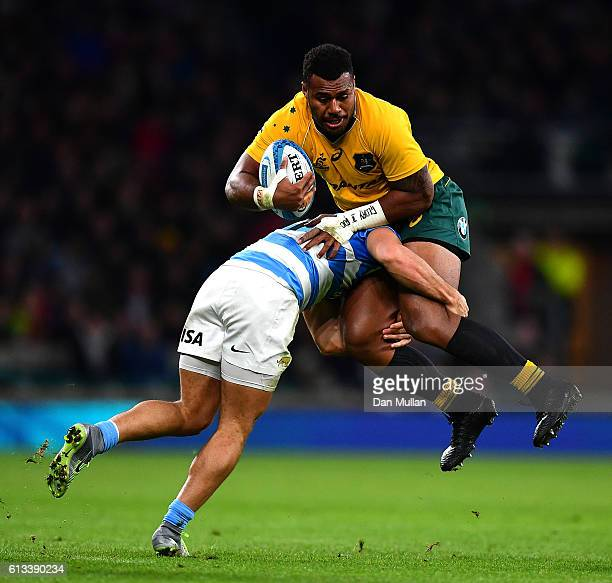 Samu Kerevi of Australia is tackled by Ramiro Moyano of Argentina during The Rugby Championship match between Argentina and Australia at Twickenham...