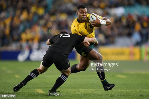 Samu Kerevi of Australia is tackled during The Rugby Championship Bledisloe Cup match between the Australian Wallabies and the New Zealand All Blacks...