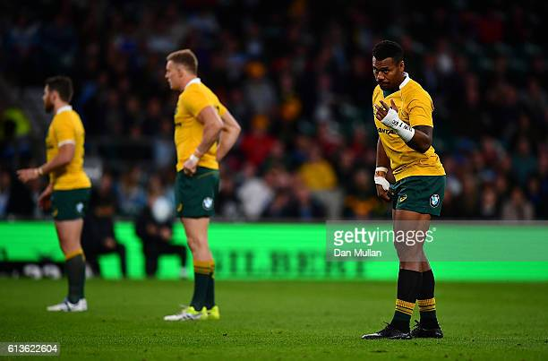 Samu Kerevi of Australia looks on during the Rugby Championship match between Argentina and Australia at Twickenham Stadium on October 8 2016 in...