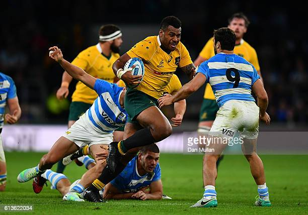 Samu Kerevi of Australia takes on Martin Landajo of Argentina during the Rugby Championship match between Argentina and Australia at Twickenham...