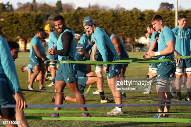 Samu Kerevi of Australia takes part in training during Australia media access ahead of the international match between Scotland and Australia on...