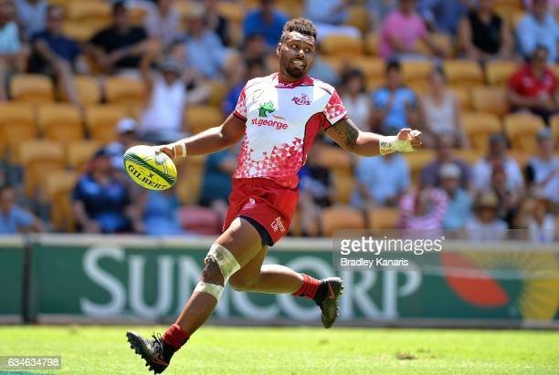 Samu Kerevi of the Queensland Reds scores a try during the Rugby Global Tens match between the Queensland Reds and Auckland Blues at Suncorp Stadium...