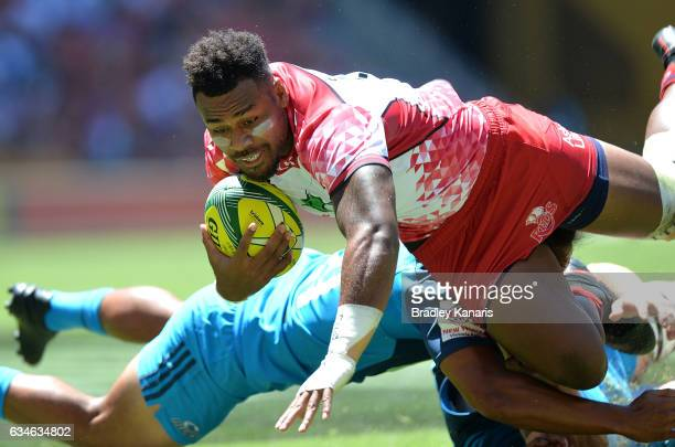 Samu Kerevi of the Queensland Reds takes on the defence during the Rugby Global Tens match between the Queensland Reds and Auckland Blues at Suncorp...