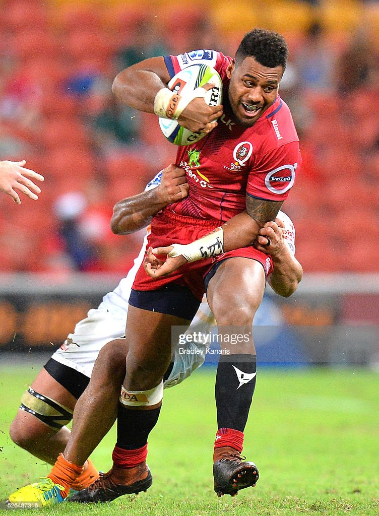 Samu Kerevi of the Reds attempts to break away from the defence during the round 10 Super Rugby match between the Reds and the Cheetahs at Suncorp Stadium on April 30, 2016 in Brisbane, Australia.