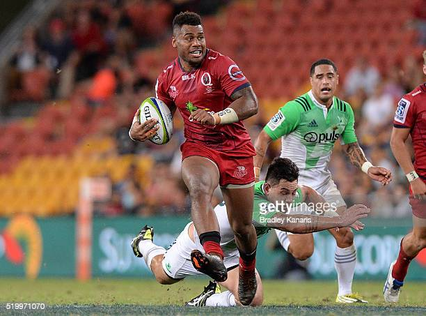Samu Kerevi of the Reds breaks away from the defence during the round seven Super Rugby match between the Reds and the Highlanders at Suncorp Stadium...