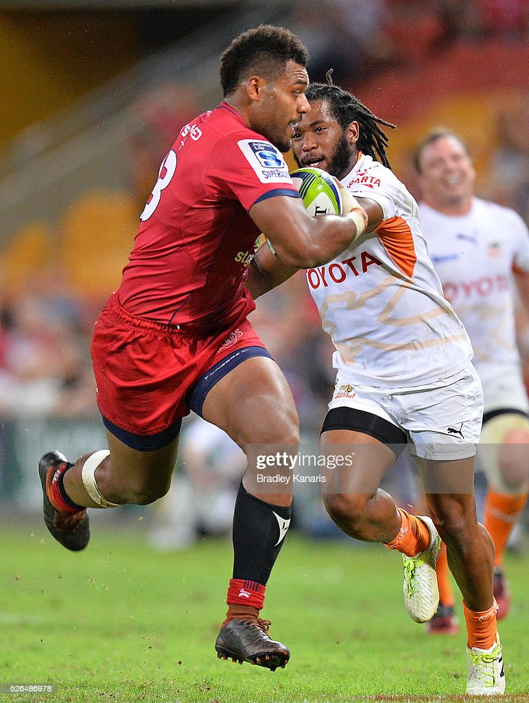 Samu Kerevi of the Reds breaks away from the defence during the round 10 Super Rugby match between the Reds and the Cheetahs at Suncorp Stadium on April 30, 2016 in Brisbane, Australia.