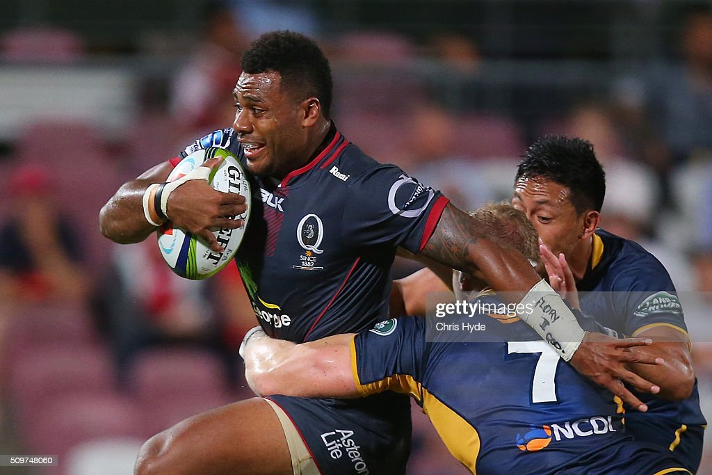 Samu Kerevi of the Reds is tackled by David Pocock of the Brumbies during the Super Rugby Pre-Season match between the Reds and the Brumbies at Ballymore Stadium on February 12, 2016 in Brisbane, Australia.