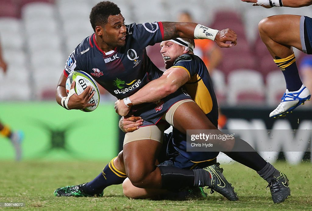 Samu Kerevi of the Reds is tackled by <a gi-track='captionPersonalityLinkClicked' href=/galleries/search?phrase=David+Pocock&family=editorial&specificpeople=636603 ng-click='$event.stopPropagation()'>David Pocock</a> of the Brumbies during the Super Rugby Pre-Season match between the Reds and the Brumbies at Ballymore Stadium on February 12, 2016 in Brisbane, Australia.