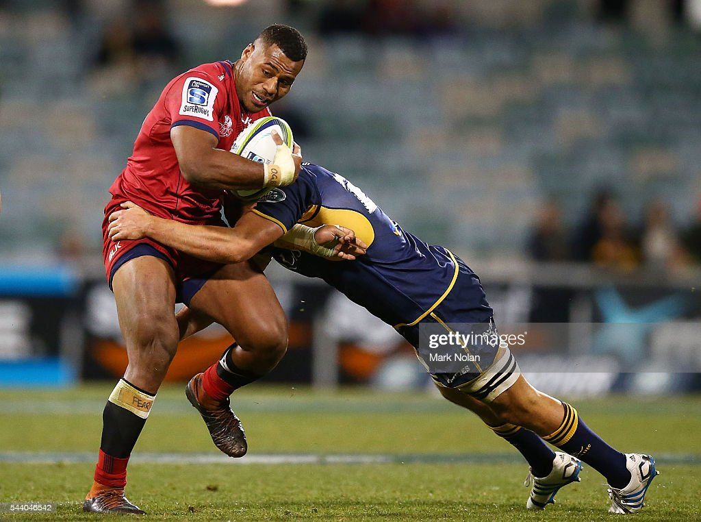 Samu Kerevi of the Reds is tackled during the round 15 Super Rugby match between the Brumbies and the Reds at GIO Stadium on July 1, 2016 in Canberra, Australia.