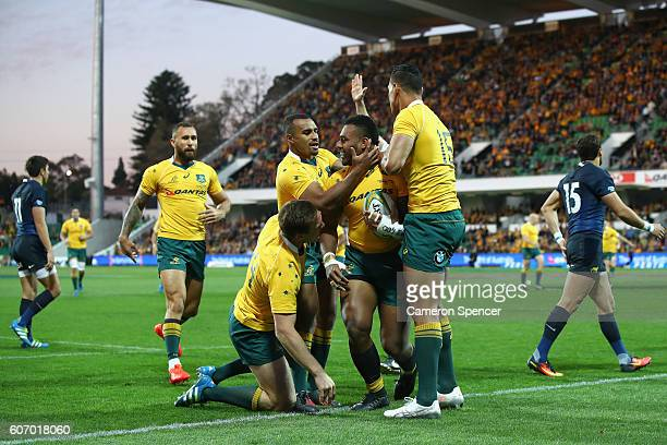 Samu Kerevi of the Wallabies celebrates scoring a try during the Rugby Championship match between the Australian Wallabies and Argentina at nib...