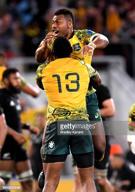 Samu Kerevi of the Wallabies celebrates victory with team mate Tevita Kuridrani after the Bledisloe Cup match between the Australian Wallabies and...