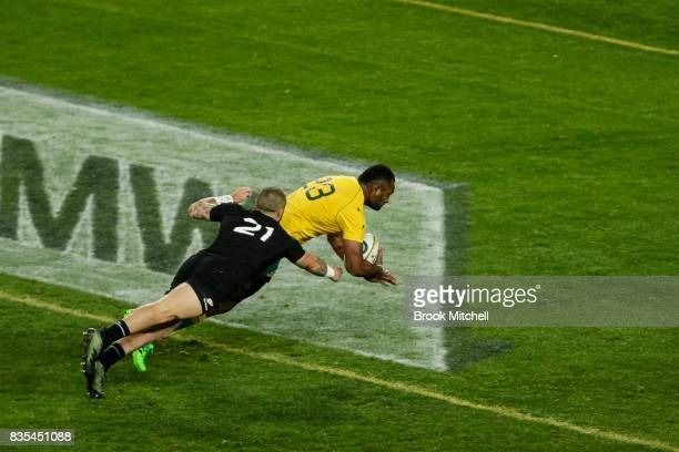 Samu Kerevi of the Wallabies dives in for a try during the Rugby Championship Bledisloe Cup match between the Australian Wallabies and the New...