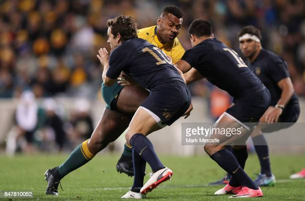 Samu Kerevi of the Wallabies is tackled during The Rugby Championship match between the Australian Wallabies and the Argentina Pumas at Canberra...