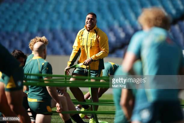 Samu Kerevi of the Wallabies looks on during the Australian Wallabies Captain's Run at ANZ Stadium on August 18 2017 in Sydney Australia