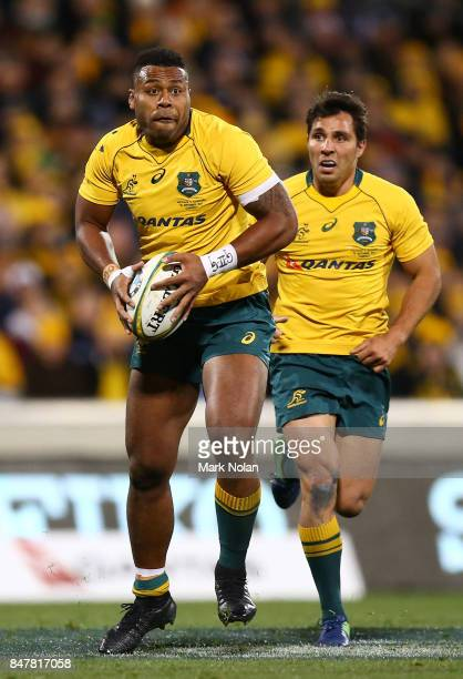 Samu Kerevi of the Wallabies runs the ball during The Rugby Championship match between the Australian Wallabies and the Argentina Pumas at Canberra...