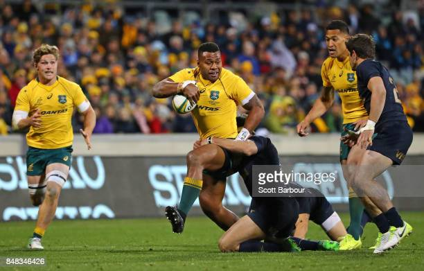 Samu Kerevi of the Wallabies runs with the ball during The Rugby Championship match between the Australian Wallabies and the Argentina Pumas at...