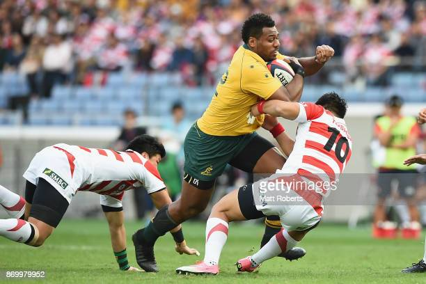 Samu Kerevi of the Wallabies takes on the defence during the international match between Japan and Australia at Nissan Stadium on November 4 2017 in...