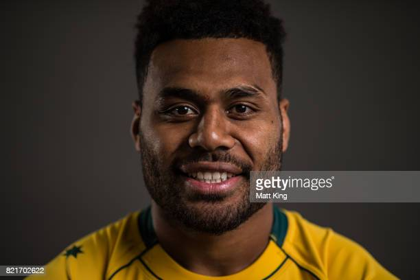 Samu Kerevi poses for a headshot during the Australian Wallabies Player Camp at the AIS on April 9 2017 in Canberra Australia