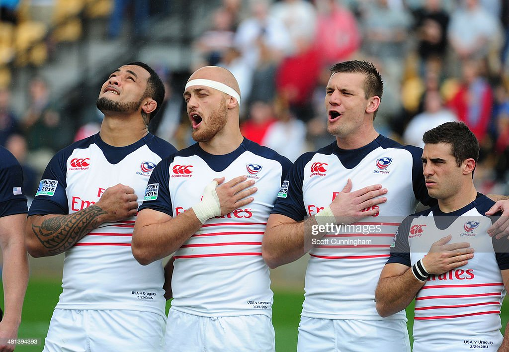 Samu Manoa Scott Lavalla Cameron Dolan and Mike Petri of the USA Eagles sing during the national anthem before the opening qualifying match of the...