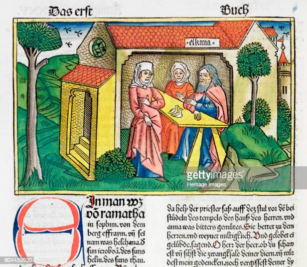8 Elkanah comforts Hannah Facsimile copy of a 15th century manuscript of the German School Artist Unknown