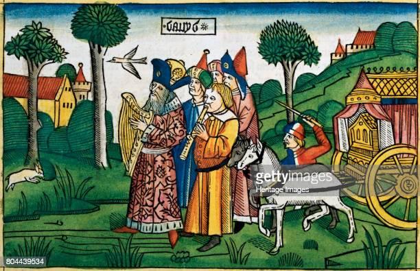 15 David brings the Ark to Jerusalem Facsimile copy of a 15th century manuscript of the German School Artist Unknown