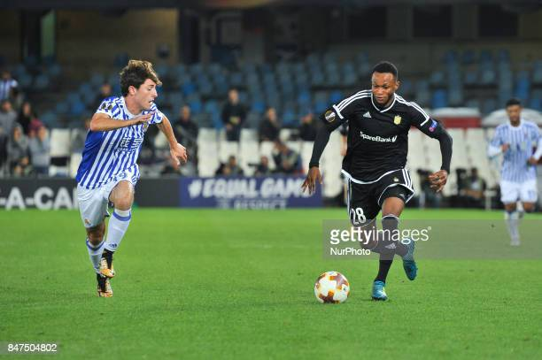 Samuel Adegbenro of Rosenborg BK duels for the ball with Alvaro Odriozola of Real Sociedad during the UEFA Europa League Group L football match...