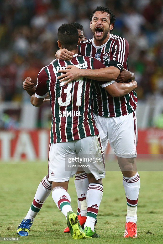 Samuel and Fred of Fluminense celebrate a scored goal during a match between Fluminense and Goias as part of Brazilian Cup 2013 at Maracana Stadium on August 21, 2013 in Rio de Janeiro, Brazil.