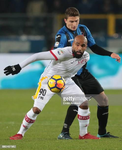 Samuel Armenteros of Benevento Calcio is challenged by Mattia Caldara of Atalanta BC during the Serie A match between Atalanta BC and Benevento...
