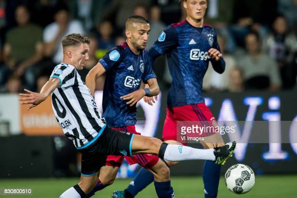 Samuel Armenteros of Heracles Almelo Hakim Ziyech of Ajax Kasper Dolberg of Ajax during the Dutch Eredivisie match between Heracles Almelo and Ajax...