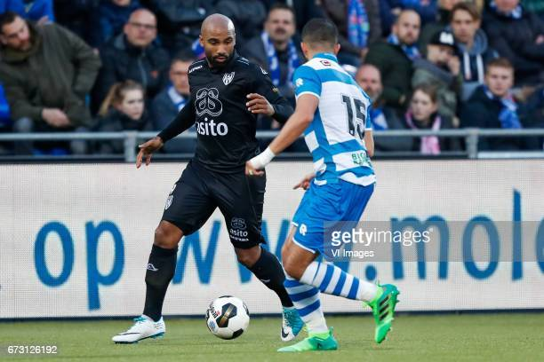 Samuel Armenteros of Heracles Almelo Ouasim Bouy of PEC Zwolleduring the Dutch Eredivisie match between PEC Zwolle and Heracles Almelo at the...